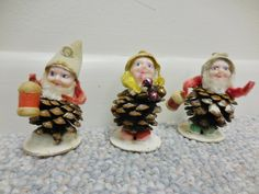 3 Vintage Christmas Ornaments Pinecone Elves Pixies by RSWVintage