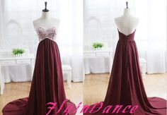 Burgundy Prom Dresses A Line Sweetheart With Silver Beads Slit Side Long Chiffon Evening Dress Wine Red Formal Gowns For Teen