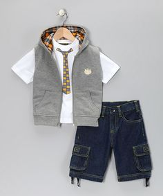 Take a look at this Gray Zip-Up Vest Set - Infant & Toddler by College Boyys on #zulily today!