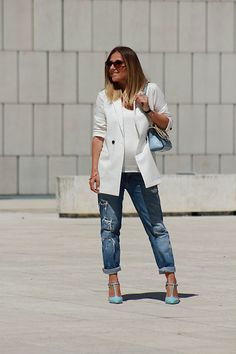 Get this look: http://lb.nu/look/8790049  More looks by Eniwhere Fashion: http://lb.nu/eniwherefashion  Items in this look:  Rosegal Blazer, Zara Ripped Denim, Stradivarius White Top, Zara Heels, Jadise Italian Bag, Rosegal Bracelet   #chic #classic #minimal #levis #zara #trench #converse #eyewear #sneakers