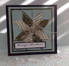 handade quilt card from Rambling Rose Studio by Billie Moan ... 4X4 patched block ... square punches cut on diagonal form a star ... pale blue and aqua ... luv the multi-strand linen threat (?) bow ... Stampin' Up!