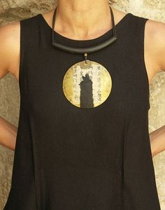 Ethnic brass necklace: Large brass disc shape, ancient calligraphy, old Chinese currency, rubber