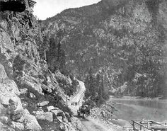 1867 One Mile Above Yale on the Cariboo Road Marble Canyon, Fraser River, Royal Engineers, Chuck Wagon, Whitewater Rafting, Canadian History, Old West, Old Pictures, British Columbia