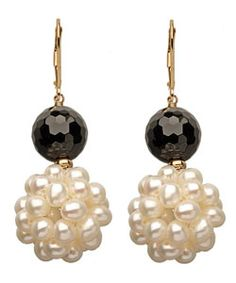 Onyx and Pearl Popcorn Earrings A half-inch cluster of round white pearls drops from faceted round onyx beads. +