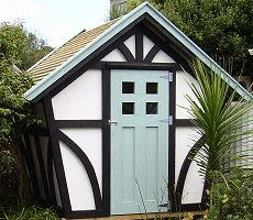 a tudor style garden shed (would be a super cute chicken coop!)