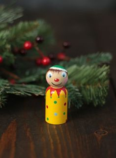 Your place to buy and sell all things handmade Wooden Ornaments, Holiday Ornaments, Christmas Decorations, Christmas Tree Design, Christmas Elf, Green Stockings, Clothespin Dolls, Vintage Style, Holiday Decorating