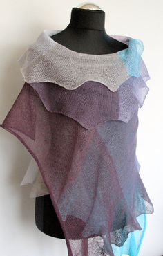 Linen Scarf Shawl Wrap Turquoise Blue Purple Violet by Initasworks, $85.00