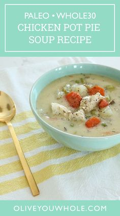 By Caroline Fausel. Do you love Chicken Pot Pie as much as I do? This Chicken Pot Pie Soup Recipe is all the goodness without the crust, AND it's Paleo AND Whole30 compliant! - Olive You Whole Whole 30 Soup, Paleo Whole 30, Whole 30 Recipes, Whole30 Soup Recipes, Paleo Soup, Lunch Recipes, Chicken Pot Pie Soup Recipe, Southern Recipes, Cooking