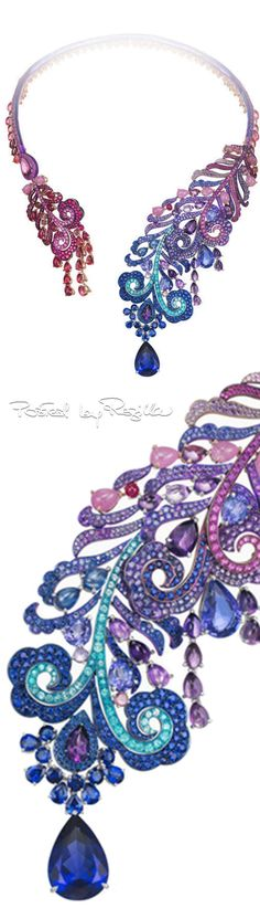 Regilla ⚜ Chopard, Necklace with sapphires, amethysts, rubellite, ruby, tanzanite and tourmaline Paraiba