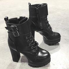 High Heel Buckle Strap Platform Ankle Boots - BLACK 39