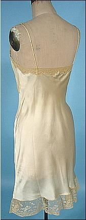 "$465 for both vintage slips / nightgowns. # 9969 - c. 1938 Franklin Simon Trousseaux Slips! 1 Short,1e Long and Slightly Trained w/ Fab detailed back! Came from same 1938 wedding gown we sold, so we assume same yr + wedding trousseau. Short: 36""bust, up to 31""waist, up to 42""hip, 38""L from shoulder to hem. Long: 36"" bust, up to 28"" waist, up to 38"" hips, 58""Long in front from shoulder to hem, 61"" longer back w/ small train."