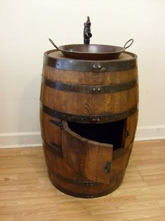 Whiskey Barrel Sink-Darker Finish-Copper by AuntMollysBarrels Barrel Sink Bathroom, Whiskey Barrel Sink, Whiskey Barrels, Copper Vessel Sinks, Barrel Projects, Diy Projects, Minwax Stain, Home Bar Decor, Architecture Design
