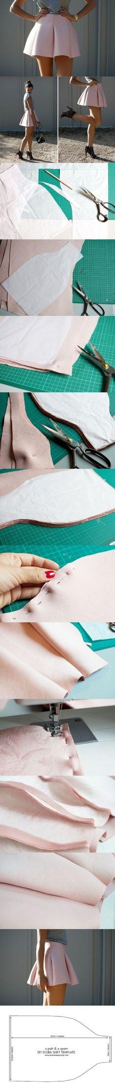 Scuba Mini Skirt Tutorial - 15 Chic Winter Fashion DIYs That Are Totally Easy   GleamItUp