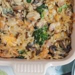 Three Cheese Chicken Broccoli and Orzo Casserole