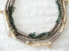 African necklace, natural necklace, gift necklace, green and beige and brown fabric cord,metal necklace,summer necklace