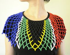South African Flag Necklace,Beaded Collar Necklace,South African Bib Necklace,Proudly SA,SA Seed Bead Necklace,SA Jewellery Seed Bead Necklace, Seed Bead Jewelry, Beaded Jewelry, Crochet Necklace, Beaded Necklace, Seed Beads, Necklaces, Jewellery, Beaded Collar
