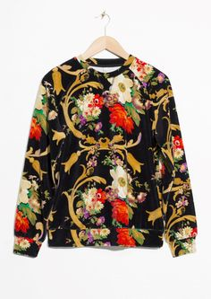 & Other Stories image 1 of Velour Sweatshirt in Floral Print