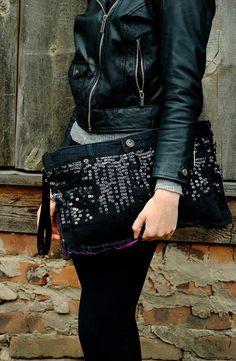 Gothic Wristlet Zipped Bag Rock Wristlet Punk Bag от PolarysTotes