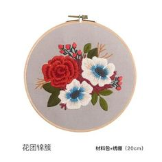 Product Description : DIY Chinese Flower Embroidery Kit with Hoop Printed Flower Needlework Cross-Stitching Set Swing Art Craft Wall Home Decor piece Package list: 1 Set ( Fabric Hoop embroidery kit, unfinished, need sewing by yourself. Embroidery Kits, Floral Embroidery, Embroidery Designs, Cadre Diy, Diy Broderie, Chinese Flowers, Fabric Ribbon, Couture, Red Flowers