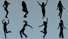 Eight dancing poses given in this vector illustration as a silhouette of girls dancing. Raised Legs, body moved forward, raised hands,these are the few poses in this vector silhouette.