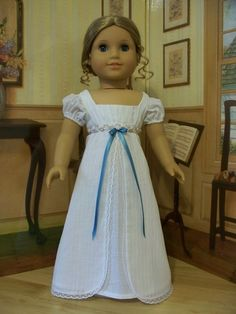 White cotton Batiste Regency Era Gown- Made to fit American Girl Dolls by Keepersdollyduds, via American Girl Outfits, American Girl Diy, American Girl Dress, American Doll Clothes, Sewing Doll Clothes, Sewing Dolls, Doll Clothes Patterns, Girl Doll Clothes, Clothing Patterns