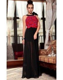 robes de matraquage rouges noirs voient à travers les robes de soirée 2013 de nouveau d'arrivée €95,32