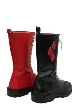 #HarleyQuinn #HarleyQuinnShoes #BatmanShoes #BatmanMovie. Buy Online Arkham Harley Quinn New Custom Made Cosplay Shoes.