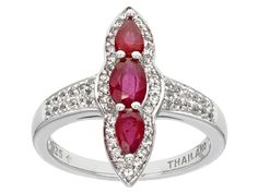 1.11ctw Oval And Pear Shape Mahaleo(R) Ruby With  .35ctw Round White Topaz Sterling Silver Ring