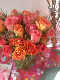 Spring colors. Pink and orange.