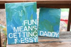 Cavas, paint and sticky letters.  Did this yesterday but with kids names. Turned out super cute.