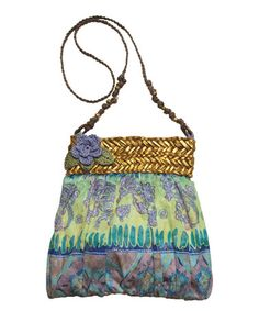 This Aqua & Gold Batik Crossbody Bag by Capelli Straworld Inc. is perfect! #zulilyfinds