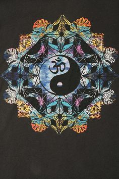 ☯☮ॐ American Hippie Psychedelic Mandala ~ Ying Yang OM Namaste
