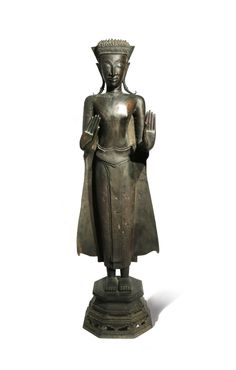 Bid Live on Lot 409 in the Asian Art II Auction from Woolley & Wallis. Laos, Standing Buddha Statue, Art Thai, Arched Eyebrows, The Saleroom, Bronze Sculpture, 17th Century, Asian Art, French Antiques