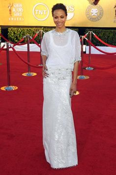 Comfy chic! Zoe Saldana wears Givenchy Haute Couture at the 2012 SAG Awards