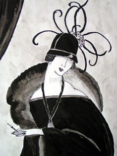 """Ritzy"""" Roaring Twenties Lady with cloche"""" Posters by patjila ..."""