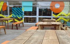 UWE courtyards by Upcircle Design Studio. Tables and benches made of reclaimed scaffolding planks. Design Studio London, Slow Design, Design Movements, Circular Economy, Scaffolding, Graphic Design Studios, Courtyards, Planks, Sustainable Design