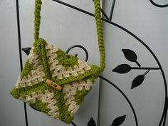 granny square crochet handbag in olive green and natural wool by Spti, $35.00