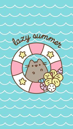 Pusheen Lazy Summer Wallpaper by - - Free on ZEDGE™ can find Pusheen and more on our website.Pusheen L. Wallpaper Hipster, Cute Cat Wallpaper, Summer Wallpaper, Kawaii Wallpaper, Iphone Wallpaper, Cellphone Wallpaper, Pusheen Wallpaper, Computer Wallpaper, Gato Pusheen