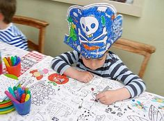 Pirate Party. Pirate colour in your own party hat. Brilliant idea. Pirate and Mermaid Party