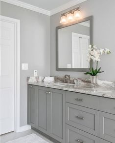 Sherwin Williams Light French Gray: Color Spotlight Both wall colo. - Sherwin Williams Light French Gray: Color Spotlight Both wall color and cabinetry col - Bathroom Interior, Grey Bathroom Paint, Light Grey Bathrooms, Colors For Bathroom Walls, Light Gray Walls Kitchen, Gray Living Room Walls, Bathroom Color Schemes, Light Grey Walls, Neutral Bathroom Colors