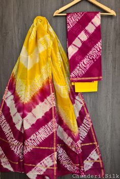 Price Rs 1600 + Shipping extra Hand block Printed chanderi silk dress materials Top and dupattas chanderi silk (2.50×2 mtrs) Bottom cotton (2.50 meters) Chanderi Silk Saree, Silk Sarees, Elegant Fashion Wear, Trendy Fashion, Silk Suit, Cotton Dresses, Tie Dye Skirt, Dress Outfits, Pure Products