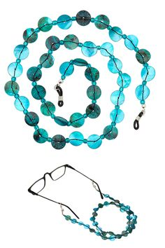 Beaded Shell Eyeglass Chain Holder with shell and glass beads in aqua blue. 26 inches. #holiday
