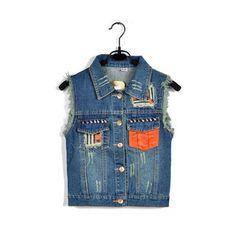 Vintage denim vest with pocket-two [290]  from Socishop