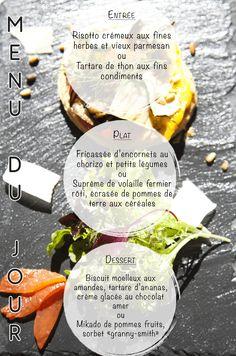 Sous un soleil un peu caché, voici notre menu du jour qui se dévoile !! A vos papilles ! #menudujour #larochelle #bonsplans #restaurantlarochelle