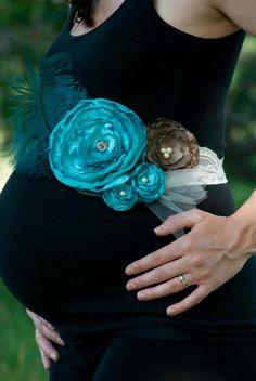 Beautiful Turquoise Maternity Sash/Band. $35.00, via Etsy.