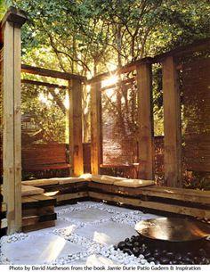 Zen Patio by Jamie Durie Pergola D'angle, Corner Pergola, Outdoor Rooms, Outdoor Gardens, Outdoor Living, Outdoor Retreat, Outdoor Seating, Landscape Design, Garden Design