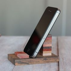 Make your own classy wooden cell phone stand, perfect for your desk or at home.