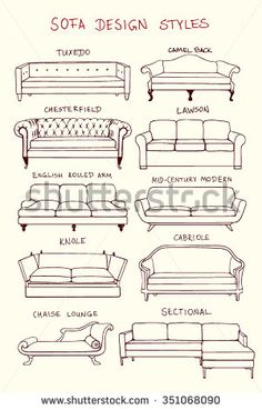 furniture sketch Vector visual guide of sofa design styles. Hand drawn sofa set made in linear style. Beautiful design elements, perfect for any business related to the furniture industry. Interior Architecture Drawing, Interior Design Sketches, Home Interior Design, Interior Design Elements, Classical Architecture, Interior Paint, Furniture Styles, Furniture Design, Trendy Furniture