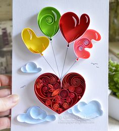 Love Heart Colored, quilling, quilling paper atr, art, quilling art, piece, artwork, paper, Etsy, квиллинг, бумага,