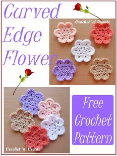Free crochet pattern for pretty flower applique, find it on crochetncreate. Crochet Motif Patterns, Crochet Stitches, Crochet Hooks, Knit Crochet, Crochet Stars, Crochet Crafts, Crochet Projects, Popular Crochet, Quick Crochet